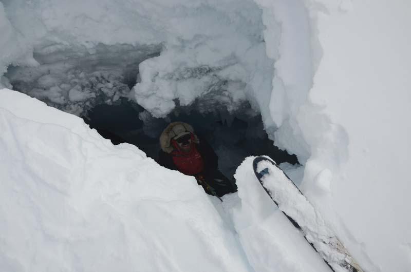 Dave in crevasse