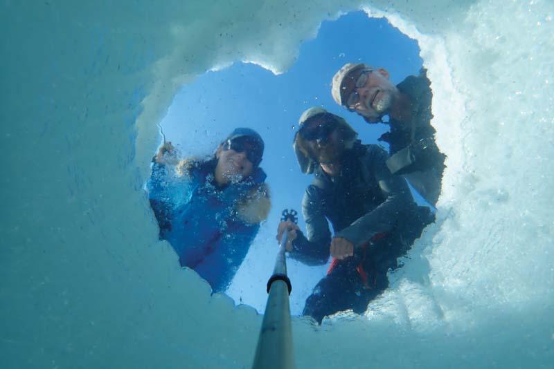 selfie stick underwater in seal hole 1